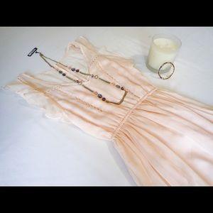 BB Dakota Peach Ruffle Midi Dress Size XS